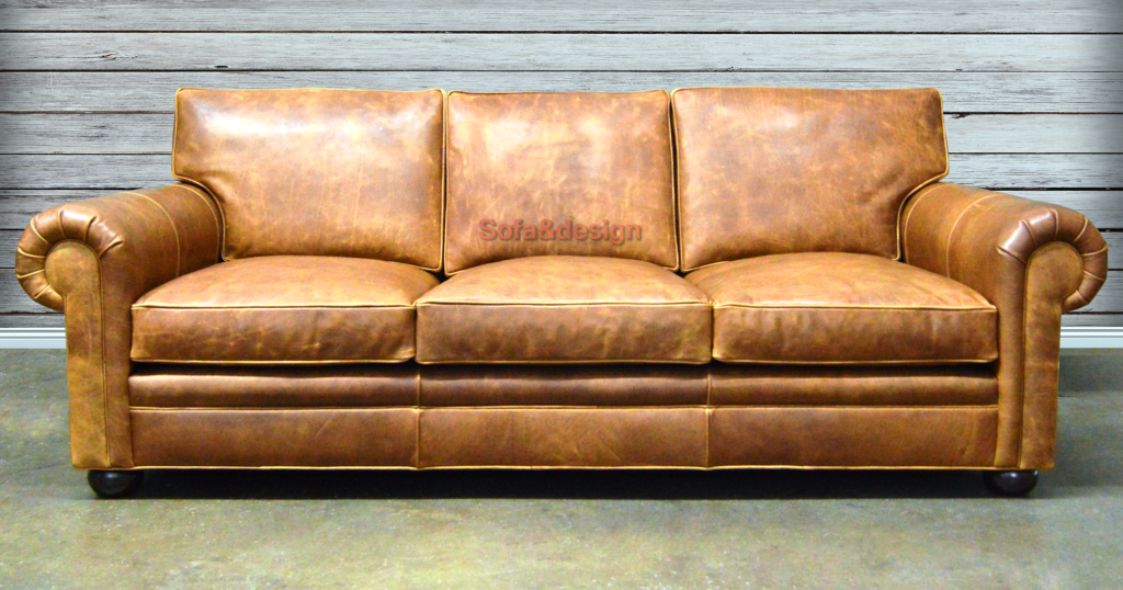Langston Leather Sofa Italian Brentwood Tan front view 1024x538 - Кожаный диван на заказ