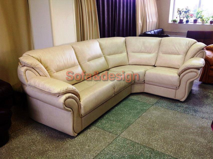 belij uglovoj kozanij divan london - Кожаный диван на заказ