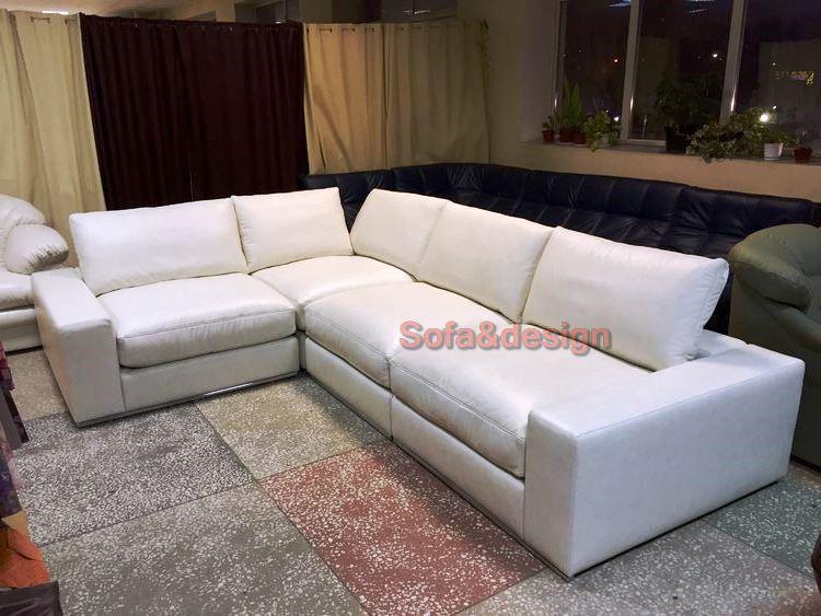 denver white leather - Угловые диваны на заказ