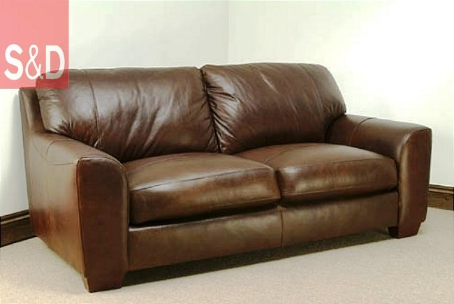 aniline leather brown 3 seater sofa eaton 1 - Прямой диван на заказ