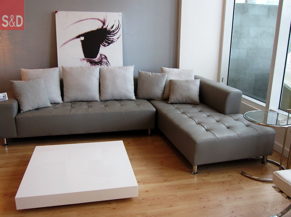 gray leather sofa Living Room Contemporary with Florida Furniture Florida Interior - Наши работы
