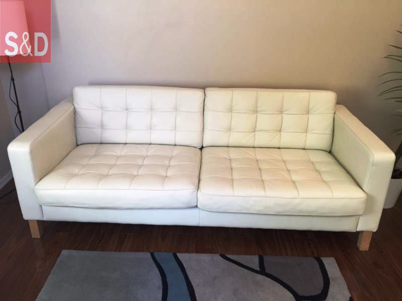 ikea karlstad 3 seater sofa tufted white leather in 5miles ikea white leather sofa - Прямые диваны на заказ