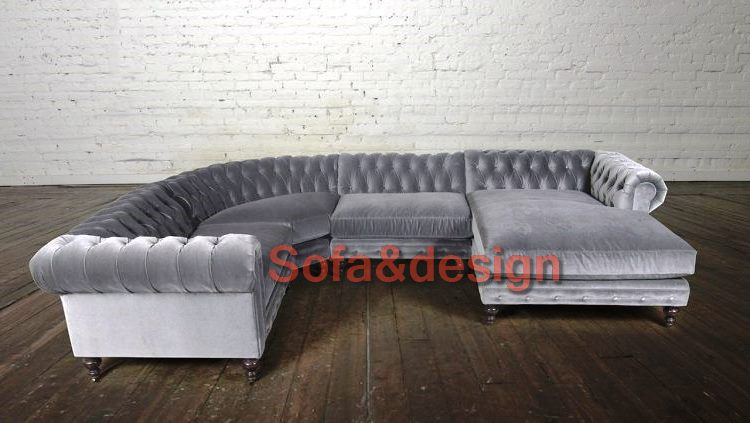 Chesterfield Sectional in Como Grey Cloud with radius corner and Chaise 750x423 - Большой диван на заказ