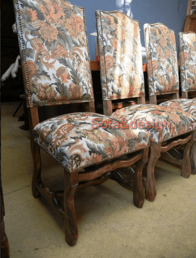 Set of 6 Green Floral Os de Mouton Louis XIV Chairs 3 - Мягкая мебель в стиле Классицизм