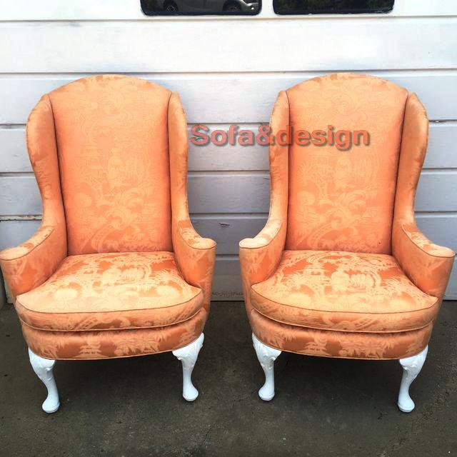 vintage henredon asian peach damask chinoiserie pagoda upholstered wingback chairs set of 2 6088 - Мягкая мебель в стиле Ренессанс