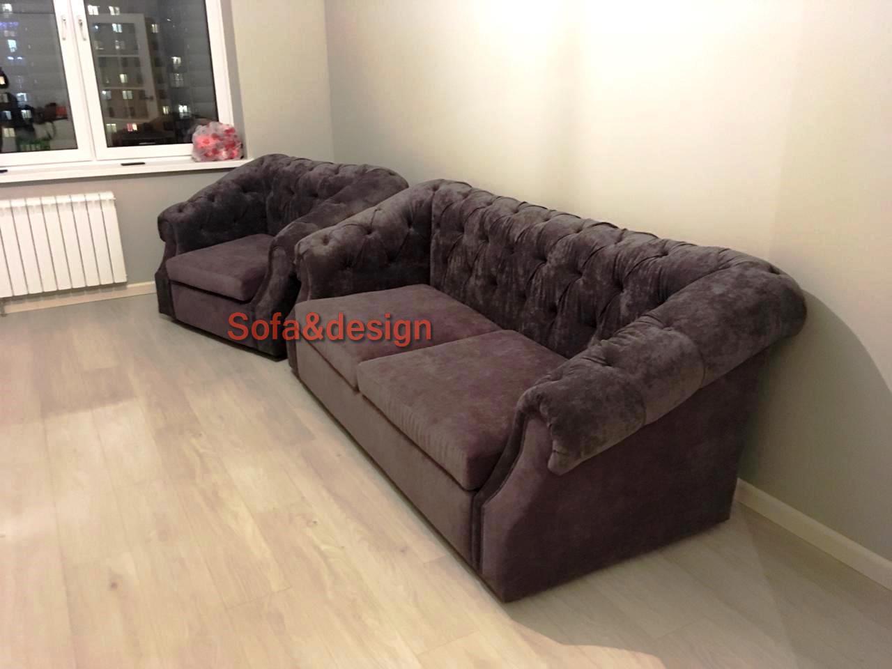 диван и кресло в пиковке темные
